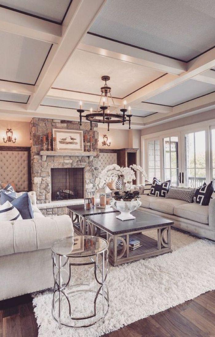Maison stylée contemporaine à lu0027aide de plafond moderne - Archzine - decoration de salon moderne