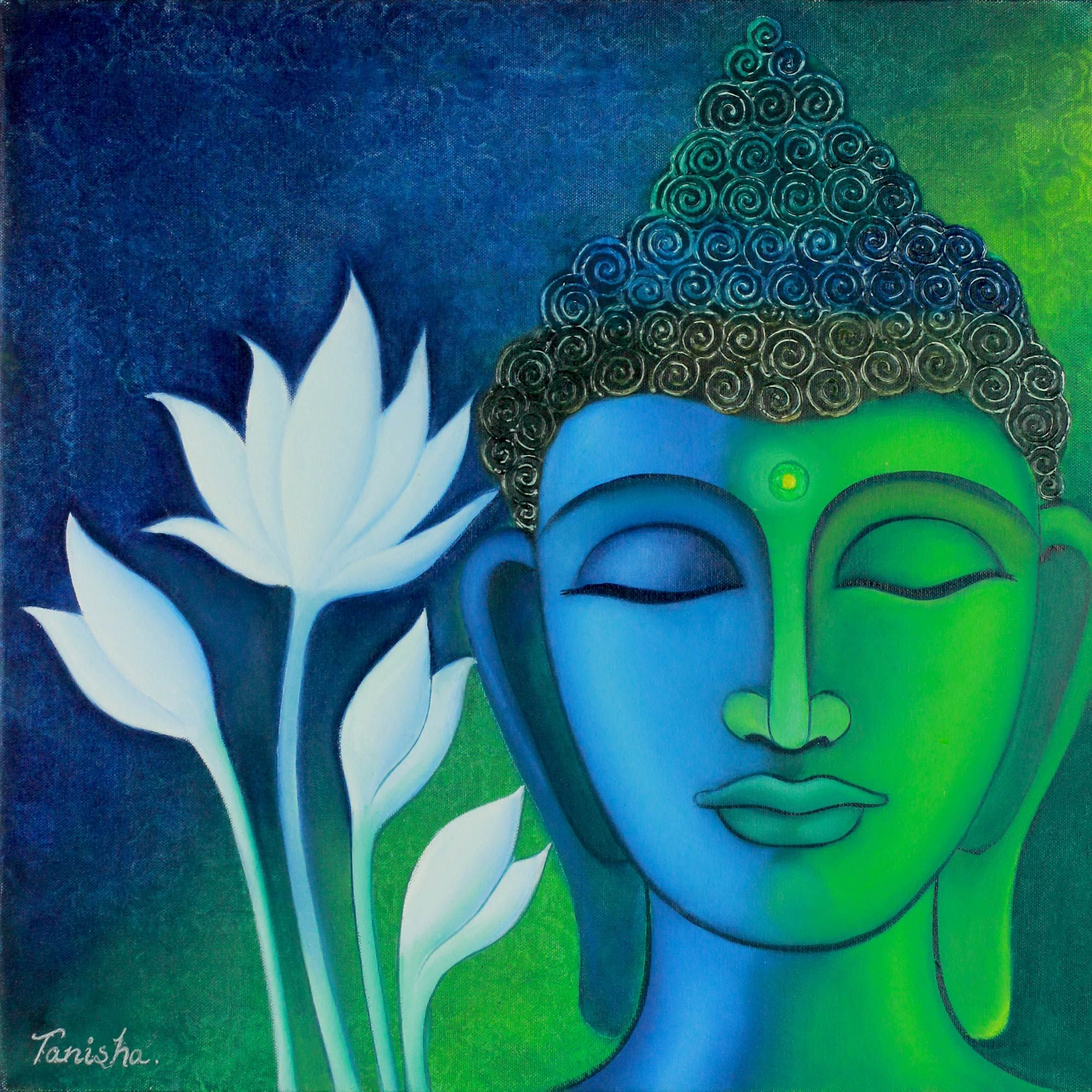 buddha and white lotus signed buddhism painting midnight