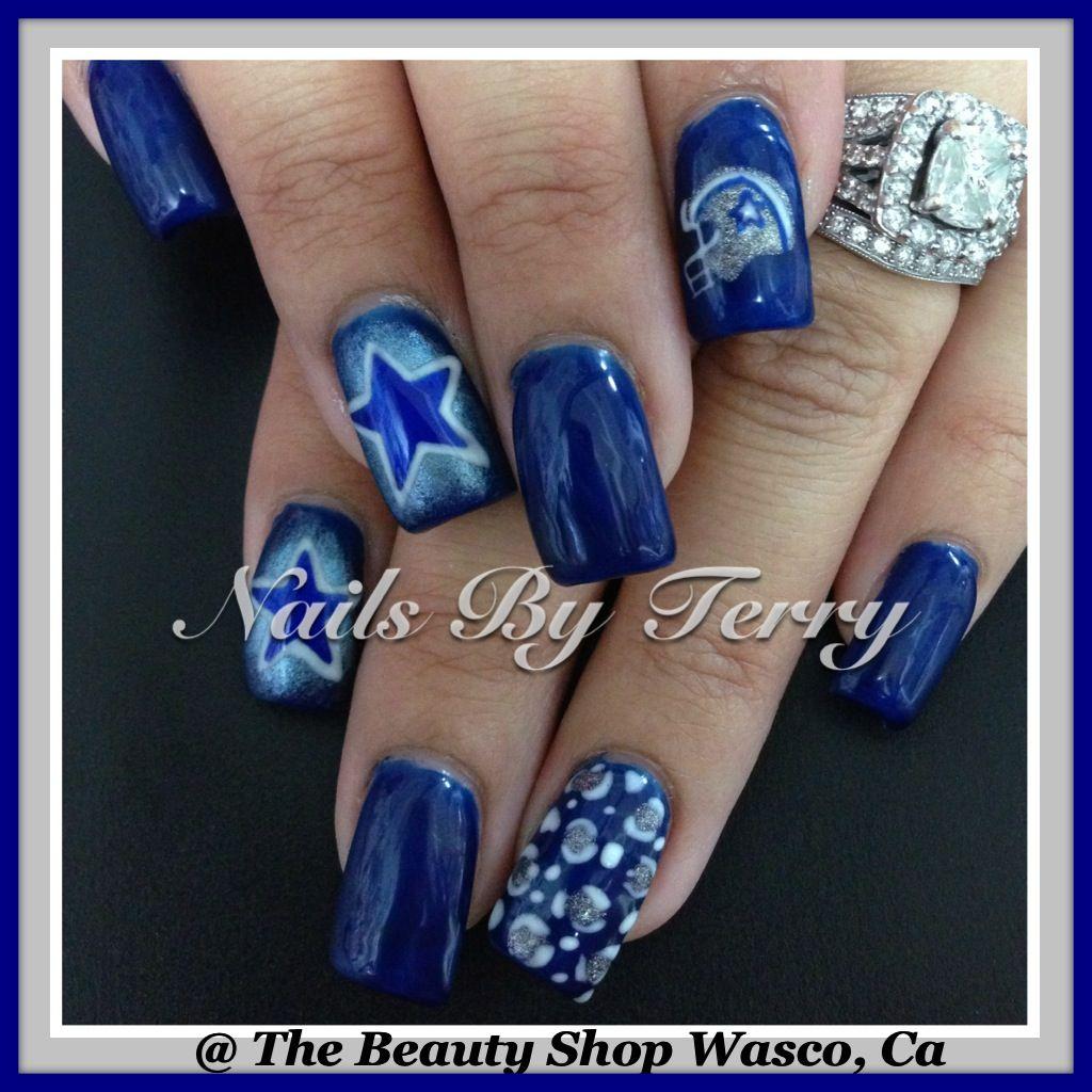 Cowboys nails, gel nails | Sport nail art by Terry | Pinterest ...