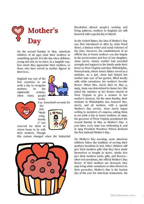 mother 39 s day origins celebratios english reading teaching english reading worksheets. Black Bedroom Furniture Sets. Home Design Ideas