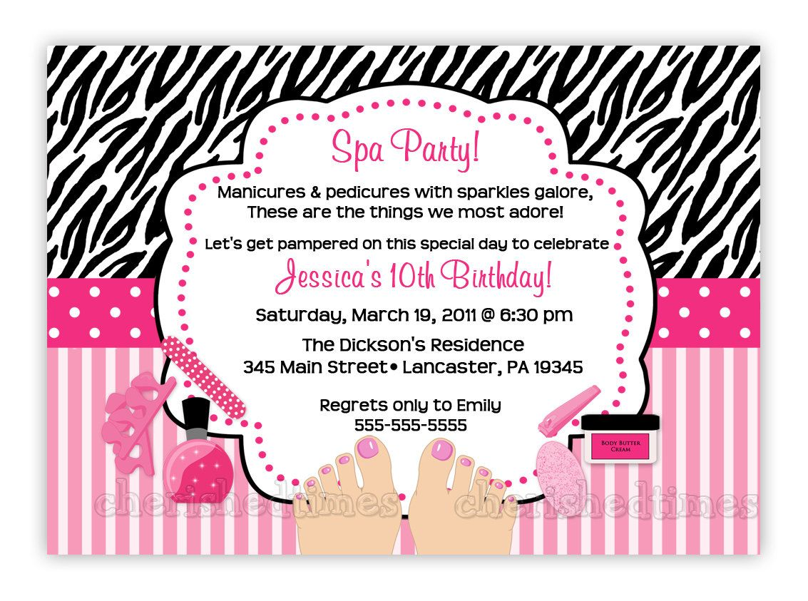 Zebra or Damask Pedicure SPA Birthday Party Invitation (You Print ...
