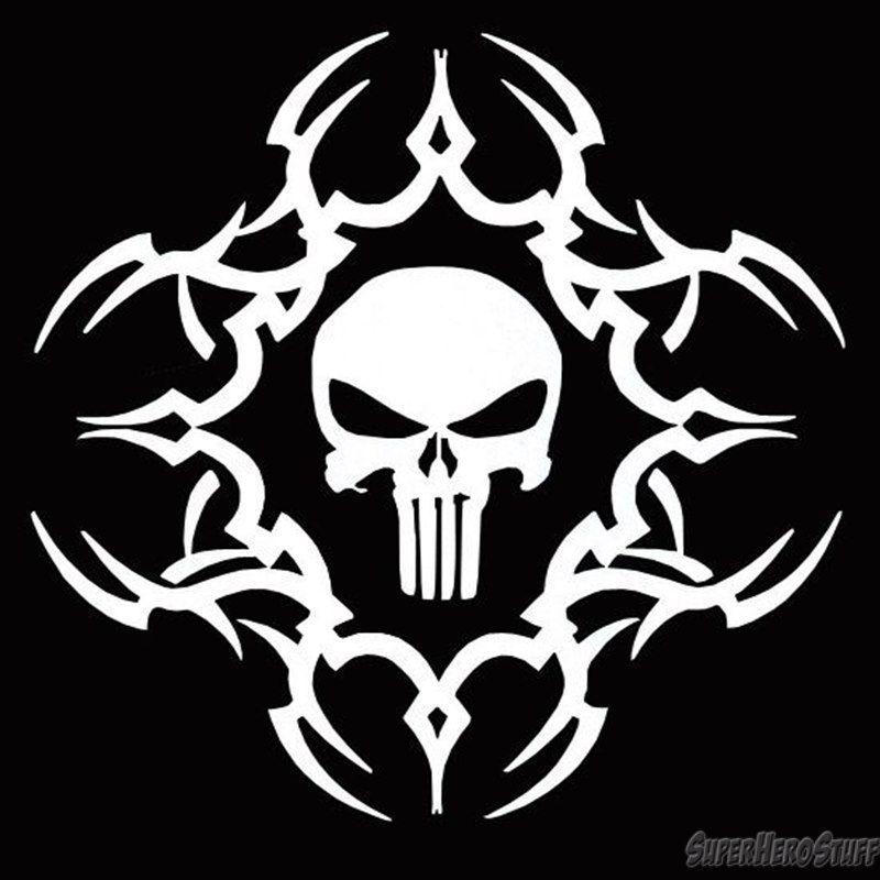 Punisher White Tribal Skull Sticker