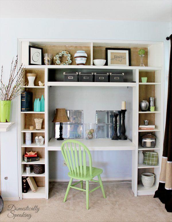 remodelaholic ikea bookcase to built in desk nook hack room ideas in 2019 bookcase desk. Black Bedroom Furniture Sets. Home Design Ideas
