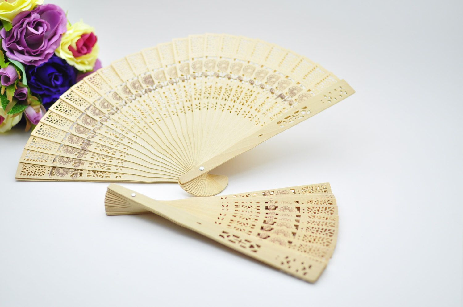 100 Sandalwood Wedding Fans Favors Bridal Shower Favors Chinese Wood ...