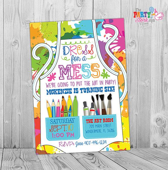 Painting party invitation art party invitation art birthday party painting party invitation art party invitation by thepartystork stopboris Images
