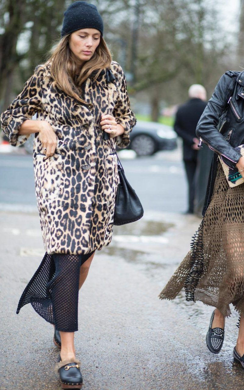 Statement pieces like a leopard print coat and fur-lined Gucci mules are a sure-fire way to keep spirits up in the damp and chilly British weather