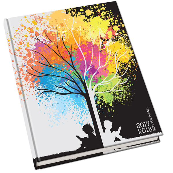 School Yearbook Cover Design ~ Branching out yearbook cover studying under the tree of