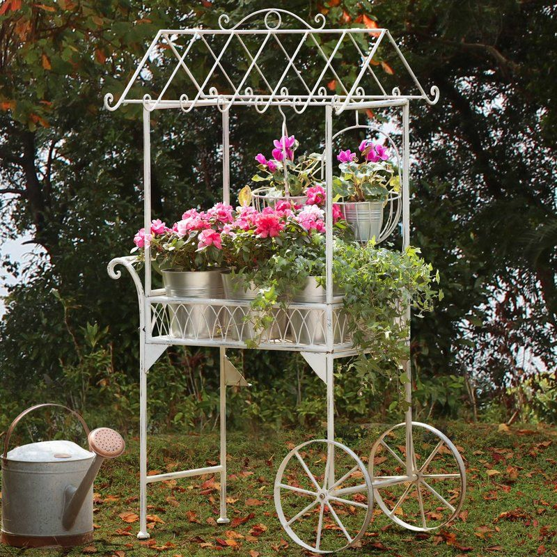Gorton Brass Terrarium Flower Cart Garden Cart