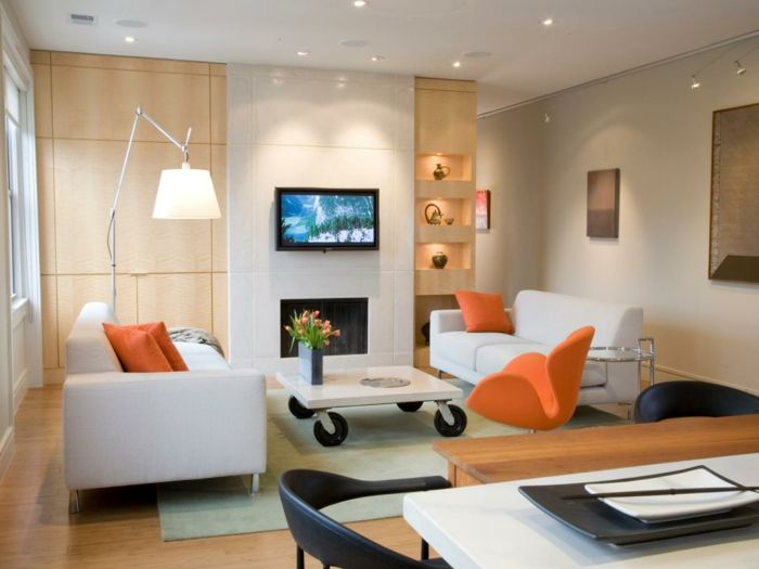 kleines zimmer einrichten gemütliches wohnzimmer orange akzente - kleines wohnzimmer modern einrichten
