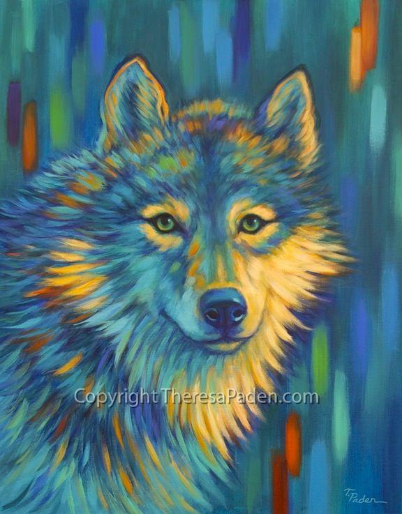 California Artwork Contemporary Wolf Art In Bright Colors