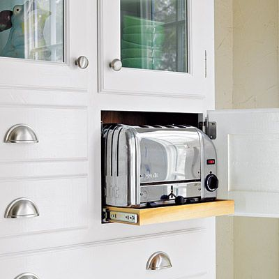 Functional Built In Toaster Cubby In A Cabinet With A Rollout