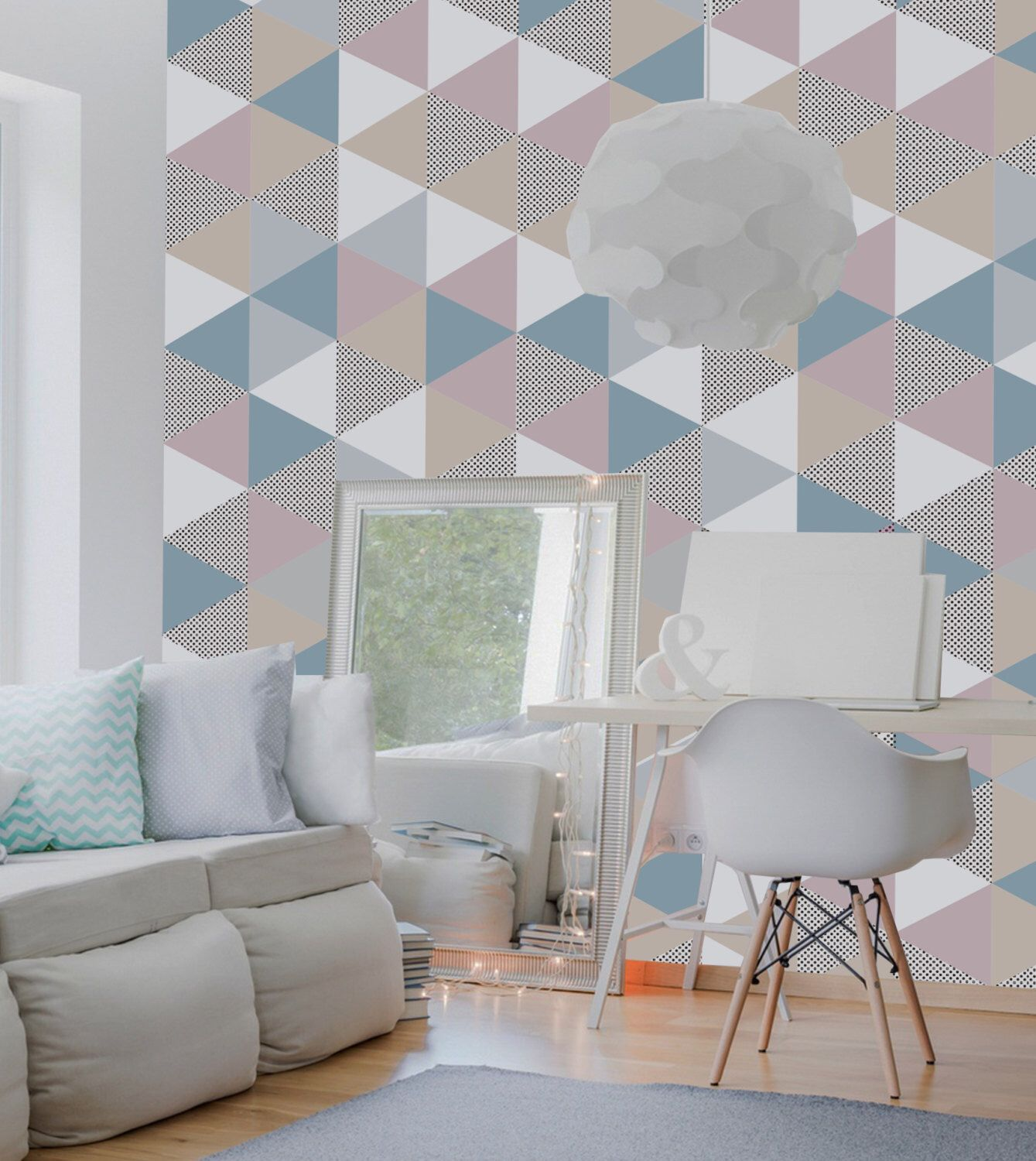 Geometric Wallpaper Removable Self Adhesive Pink And Blue With