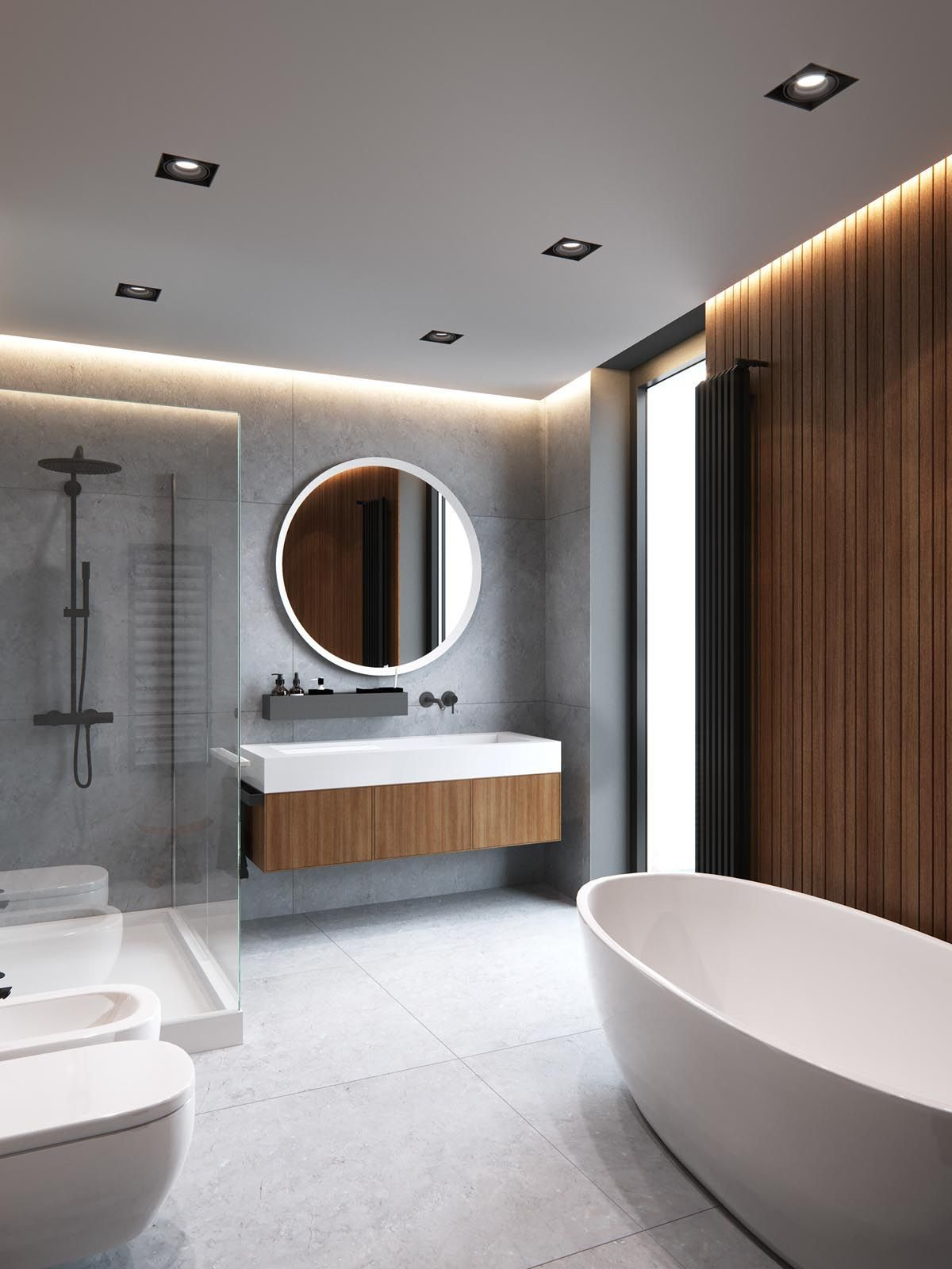 Sleek Modern Dark Bathroom With Glossy Tiled Walls: A Sleek Modern Home For A Stylish Young Family