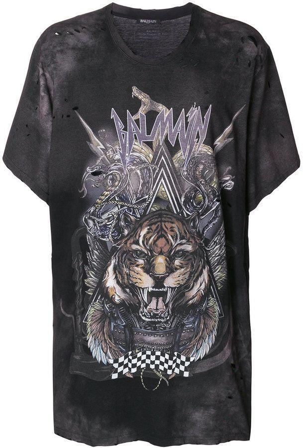 da94a5a26 Balmain oversized tiger print T-shirt | t shirt power | Mens printed ...