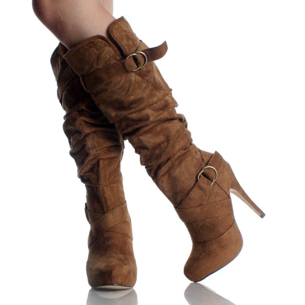Tan Suede Buckle Slouch Platform High Heel Womens Knee High Boots ...