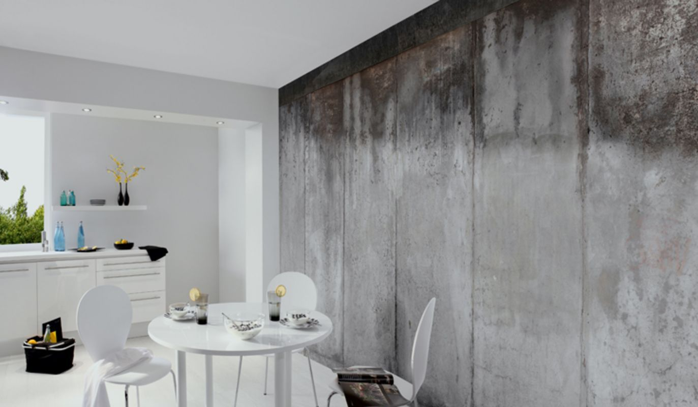 Wande Gestalten Trends Bei Tapeten Und Farben Tapete Betonoptik Rustikale Innenraume Tapeten