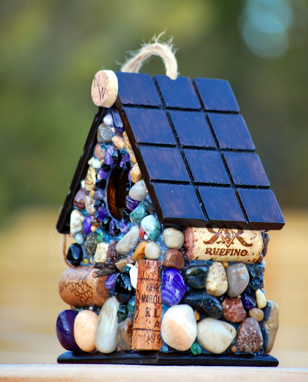 Wine Cork Birdhouse And Mosaic Stone Functional Garden