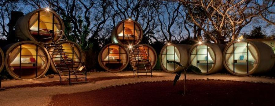 Tubohotel: concrete pipes turned into cozy hotel rooms. (Magic Village, Tepoztlan, Morelos, Mexico)