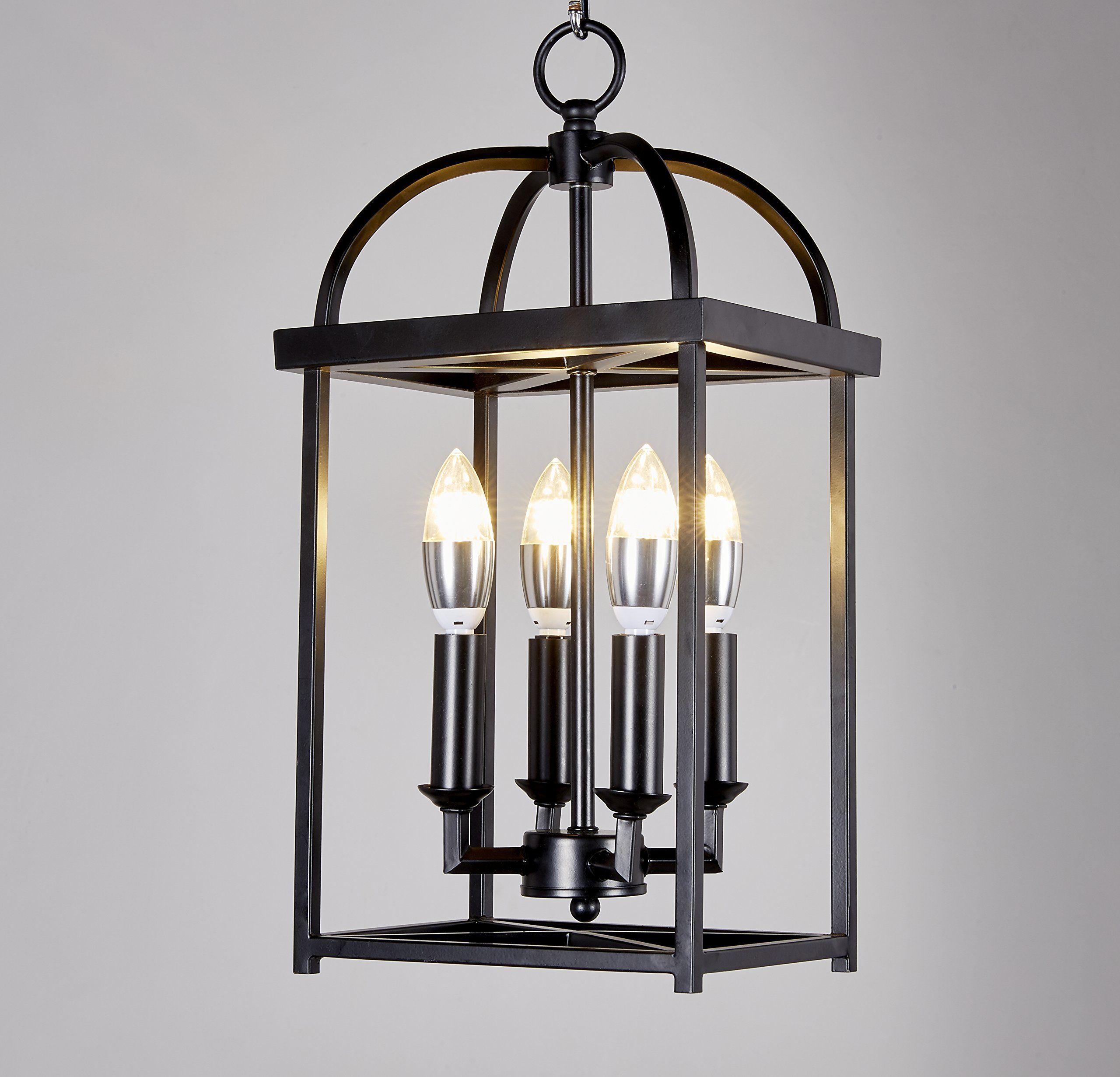 Top Lighting Antique Black finish 4-light Hanging Lantern Iron Frame ...