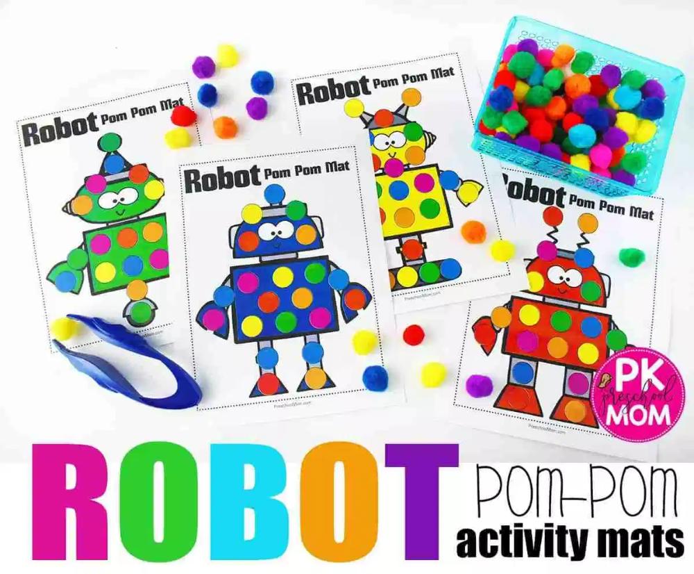 Free Robot Pom Pom Activity Mats Robots Preschool Robots Preschool Theme Pom Pom Mat [ 826 x 1000 Pixel ]
