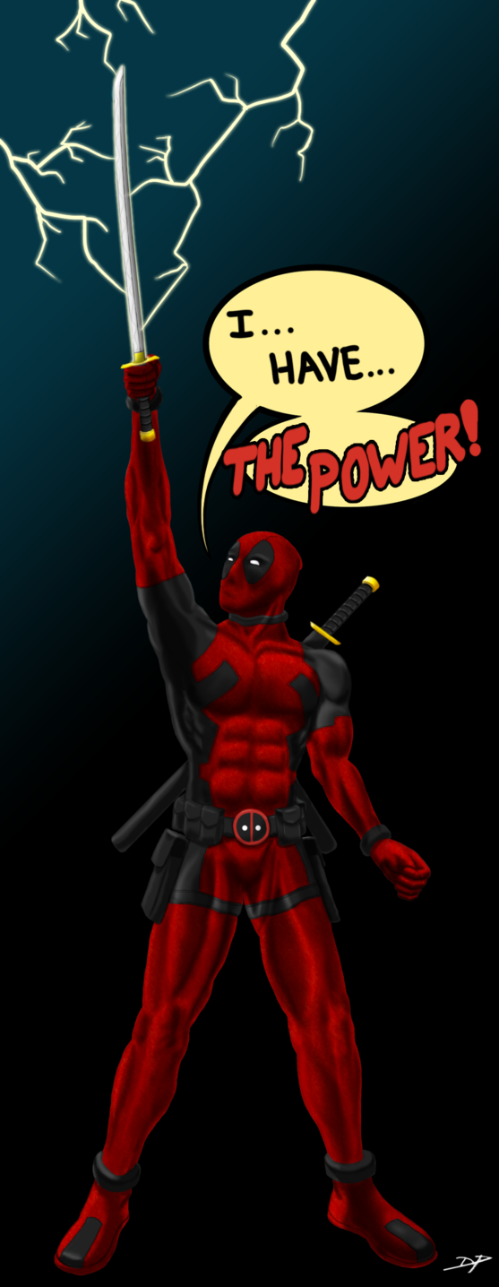 #Deadpool #Fan #Art. (Deadpool Has The Power!) By: Espiownage. (OH MY GOD! I was on top of huge mountain I climbed by hand when I was young. At the top the winds were so amazingly stronger. I commanded the winds by saying in a powerful voice: BY THE POWER