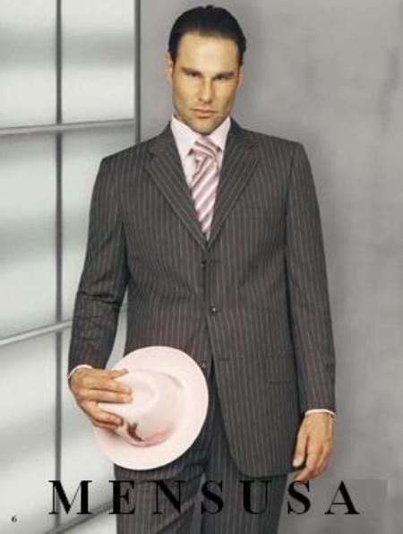 Mens #Gray & #Nice #Pink #Pinstripe #3 #Buttons #Suits As Seen On ...