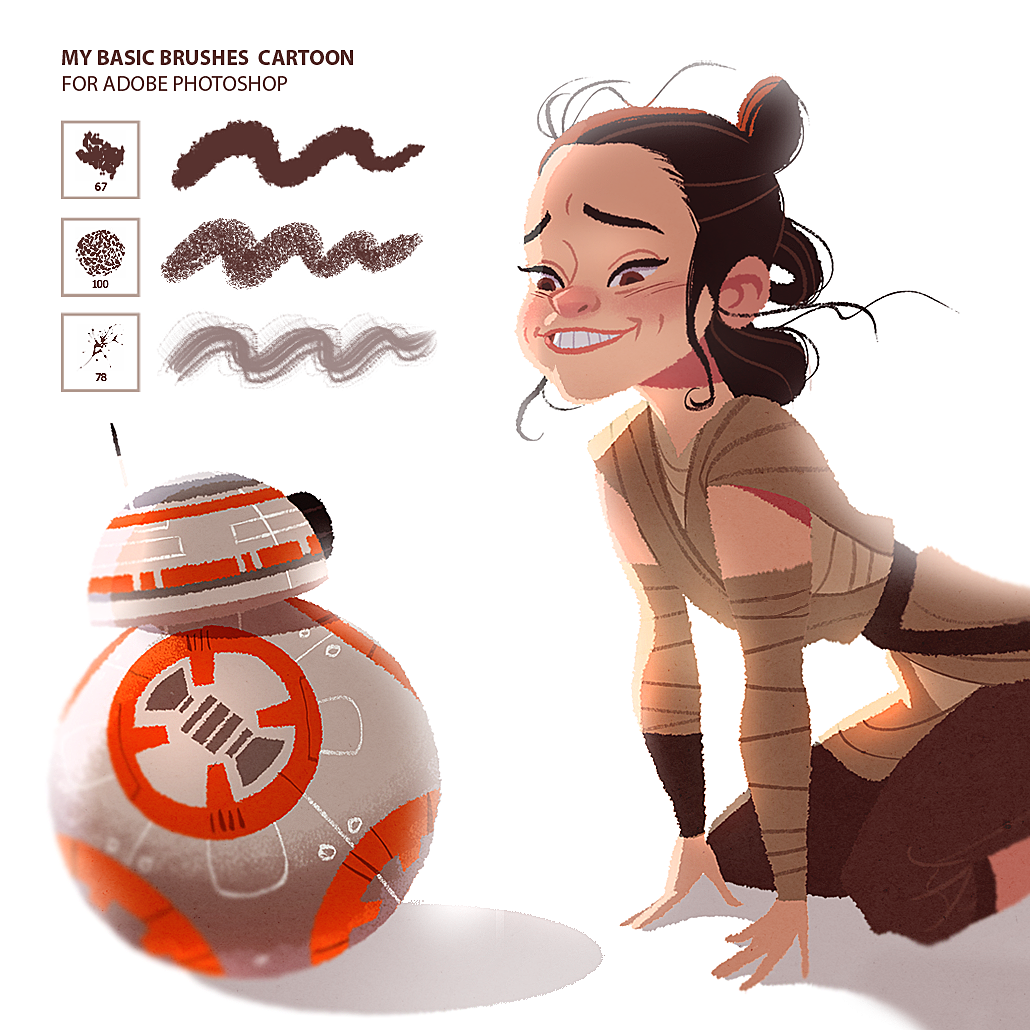 Brushes For Character Design : Rey and bb my brushes download on behance female