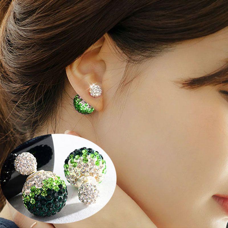 귀여운 더블 작은 크리스탈 볼 Earings 패션 양면 귀걸이 Aros 석 샴발라 스터드 귀걸이 여성 여자 보석