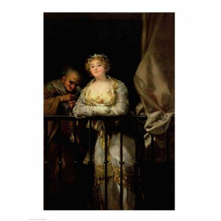 Maja and Celestina on a Balcony Canvas Art - Francisco De Goya (24 x 36)