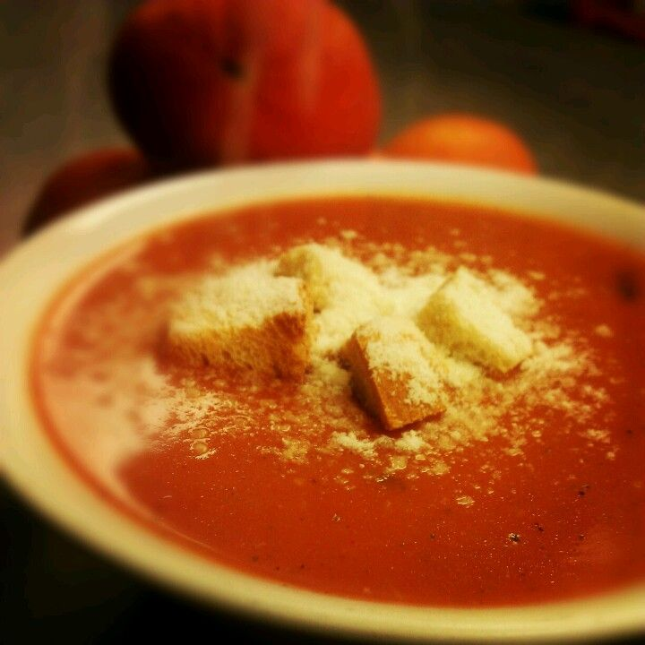 Cream of Tomato soup topped with Parmesan cheese and homemade crutons