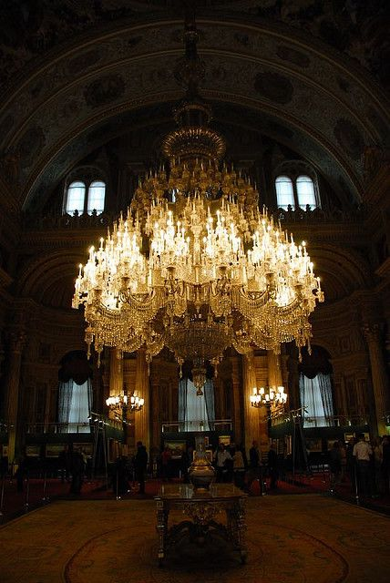 Chandelier Hangs In The Dolmabahce Palace Stock Photo ... |Dolmabahce Palace Chandelier