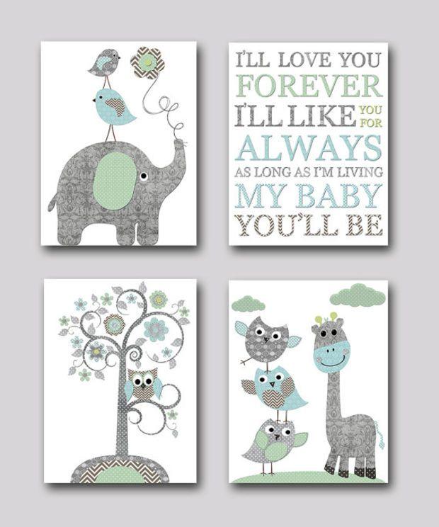Gray And Blue Elephant Nursery Giraffe Print Baby Room Decor Boy Kids Wall Art Kid Set Of 4 8x10