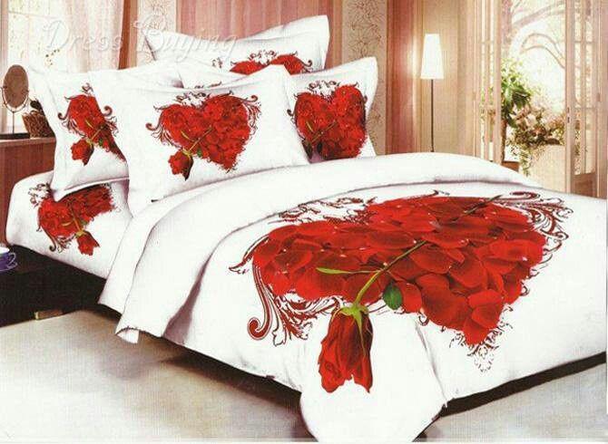 Heart Roses Cotton Comforter Set Bedding Sets Comforter Sets