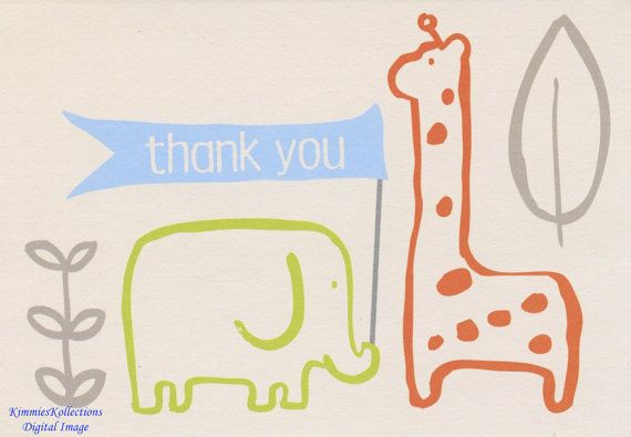 Digital Download Thank You Card  Baby Shower by KimmiesKollections