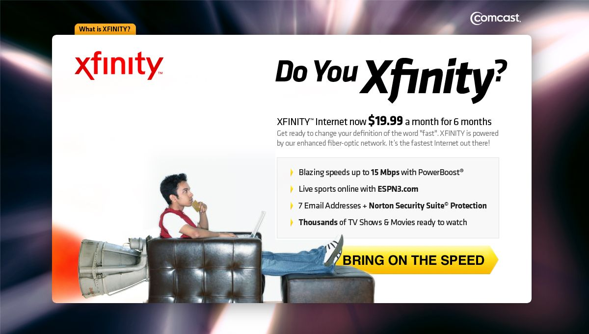 Comcast Xfinity landing page Fast Sport online