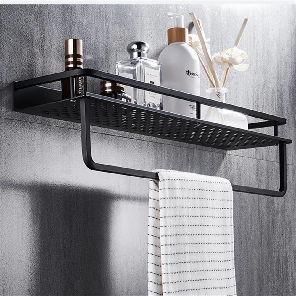 Photo of Aluminum black bathroom shelf shower shelf black modern fittings bathroom accessories storage shelf