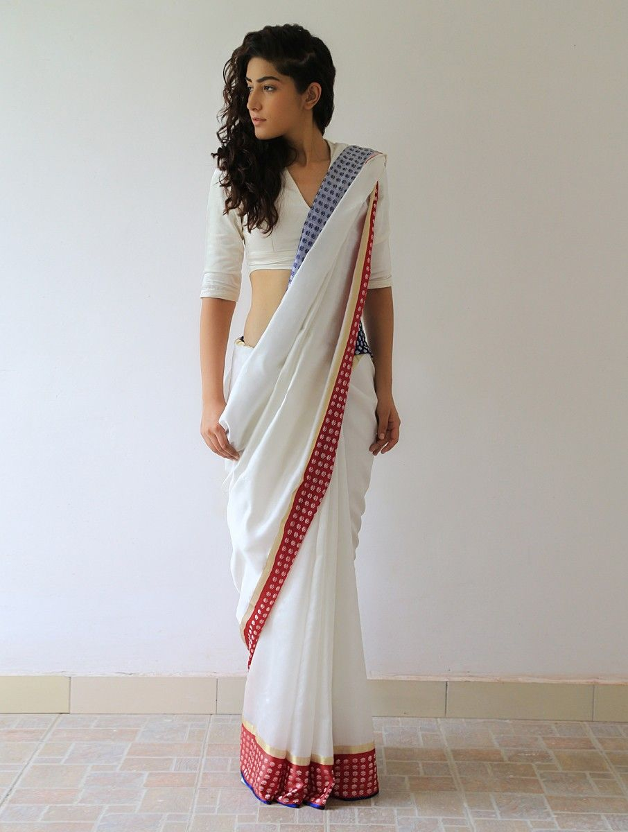 Buy White Deep Red Blue Gold Silver Mehjabeen Silk & Zari Saree By Raw Mango Sarees Woven Online at Jaypore.com