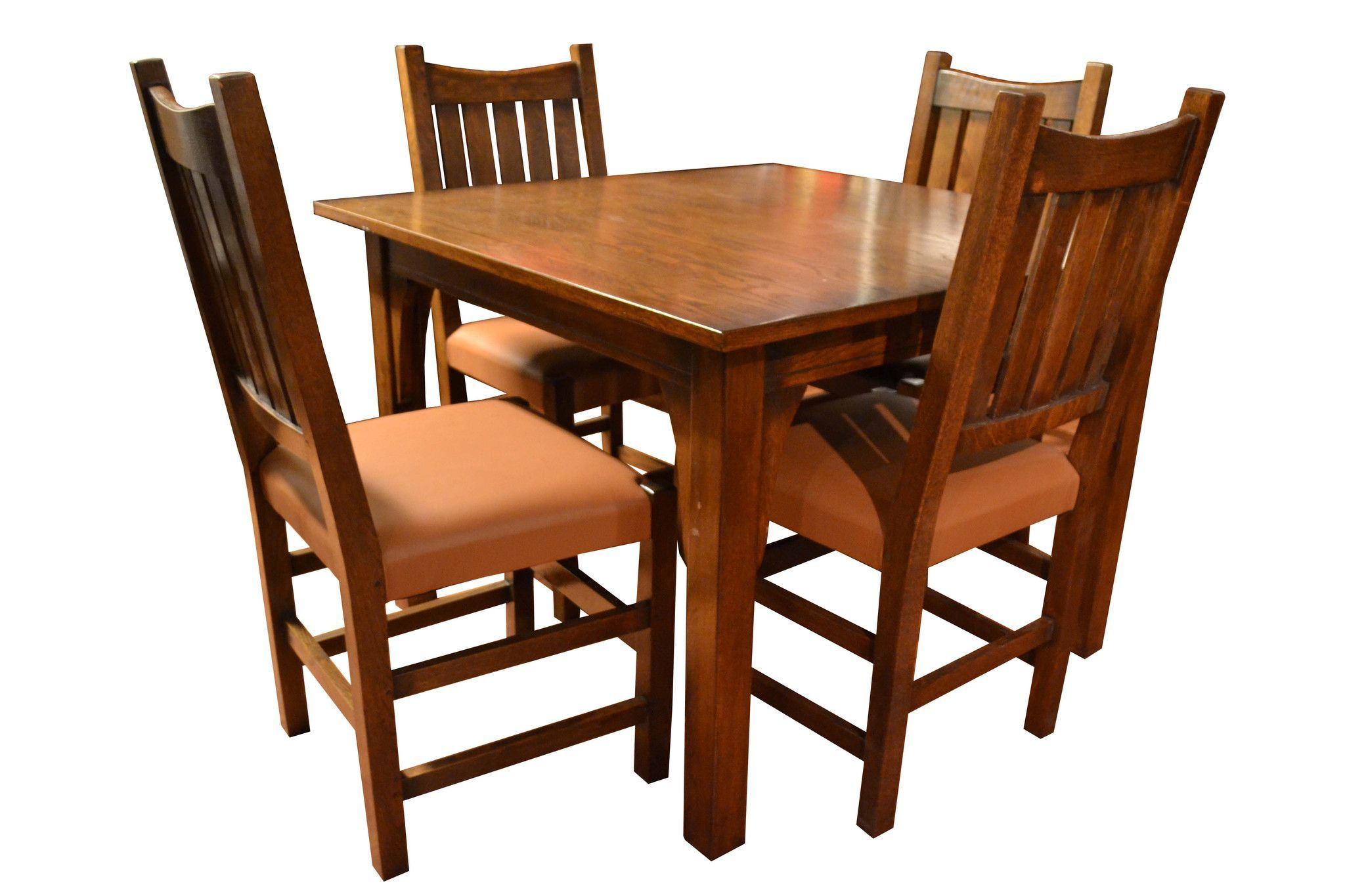 Mission Oak Kitchen Table with 2 Leaves and 4 Oak Dining ...