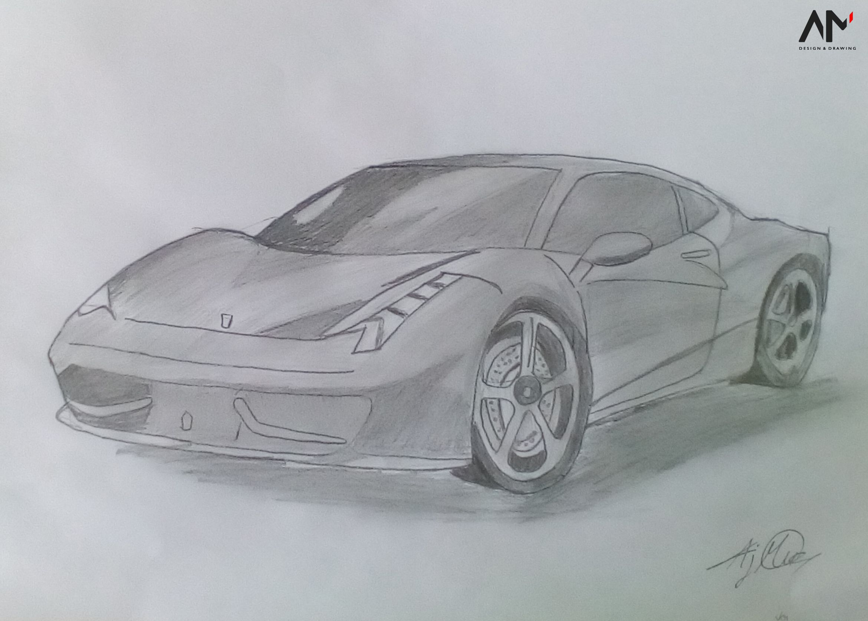 Drawing A Ferrari 458 Italia With Images Ferrari 458 Italia