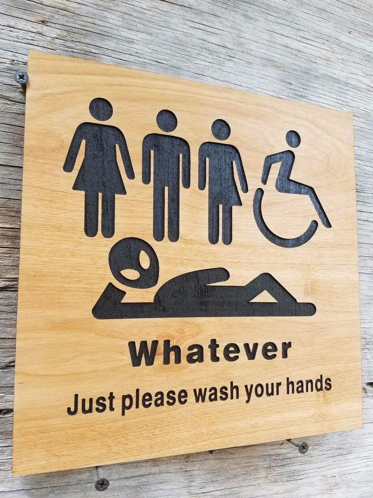 just bathroom signs. All Gender Restroom Sign Whatever Just Wash Your Hands Alien Bathroom #Handmade Signs