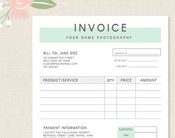 Invoice Template Photography Invoice Business Invoice Receipt - Photographers invoice template