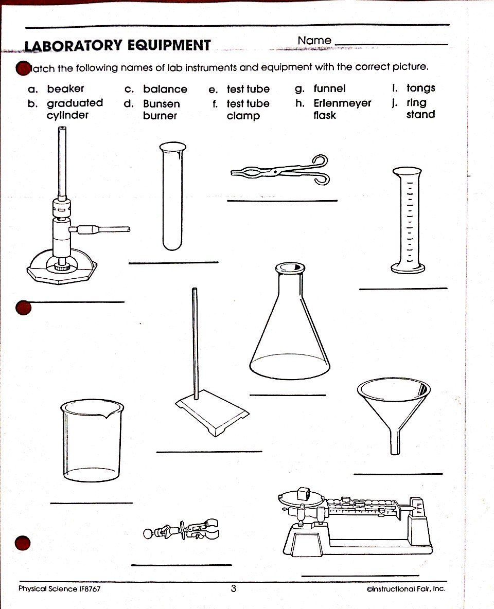 Science Lab Tools Worksheet Laboratory equipment