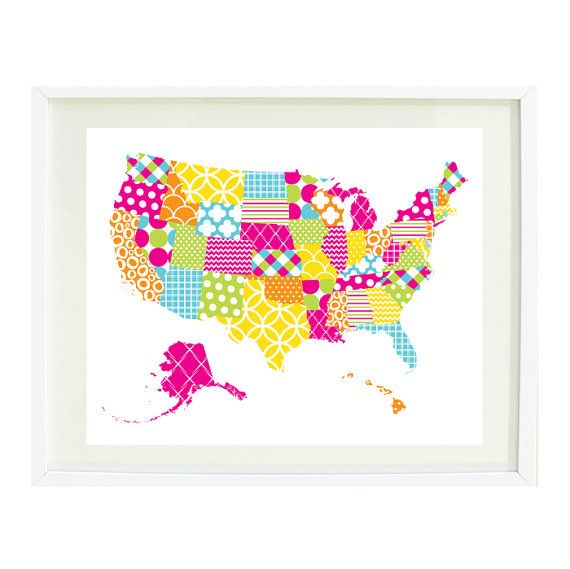 United States Of America Map Art PrintxPatchwork With Bright - Us map patterns