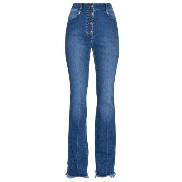 SONIA RYKIEL Fringed-hem high-rise flared jeans (5.765 ARS) ❤ liked on Polyvore featuring jeans, trousers, denim, highwaist jeans, blue jeans, high rise denim jeans, high waisted flared jeans and blue high waisted jeans