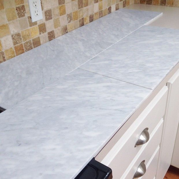Kitchen Mini-Makeover with Affordable Tiled DIY Marble Countertops and Aged Copper Light Fixture