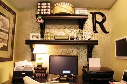 Elegant Wallpapered Office Nook Decorating Office nook and Office