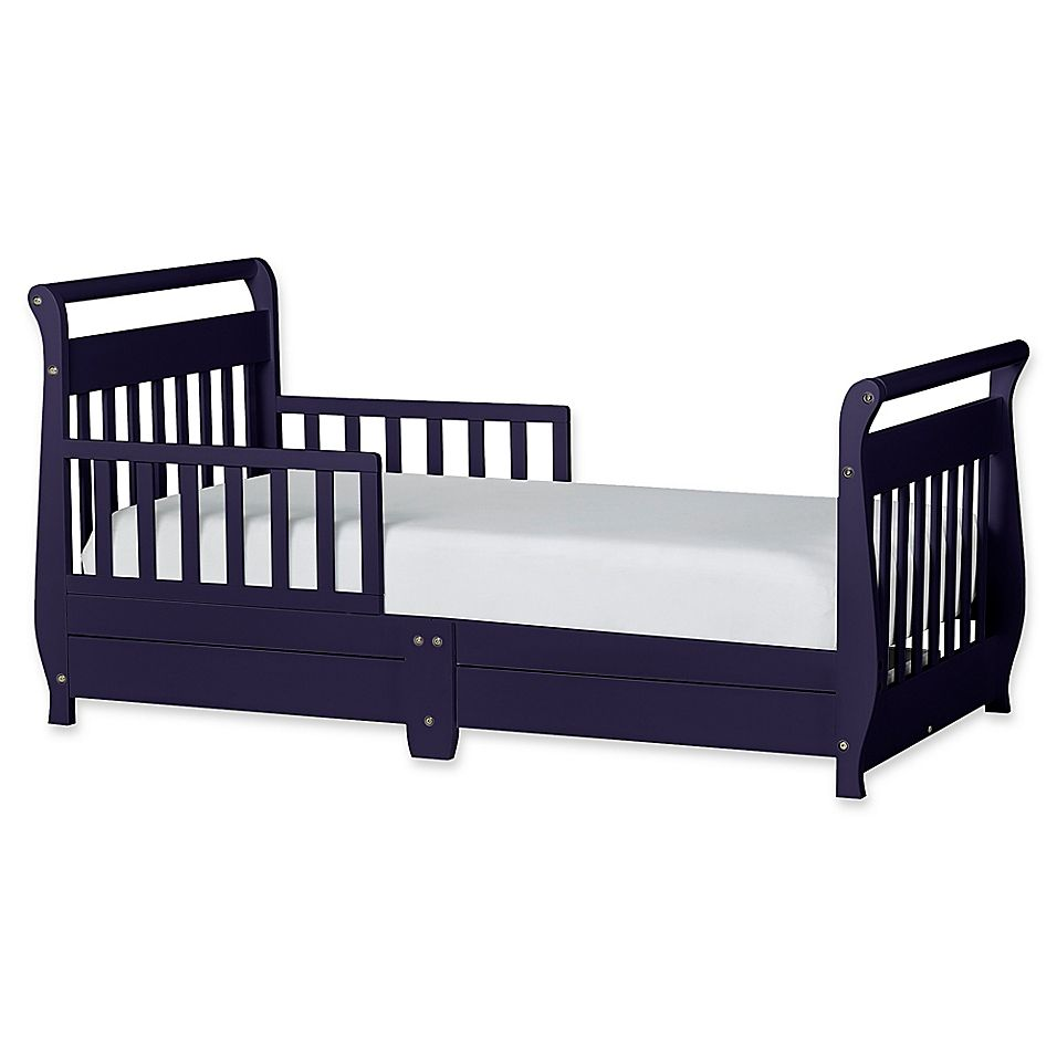 Dream On Me Sleigh Toddler Bed With Storage Drawer In Navy