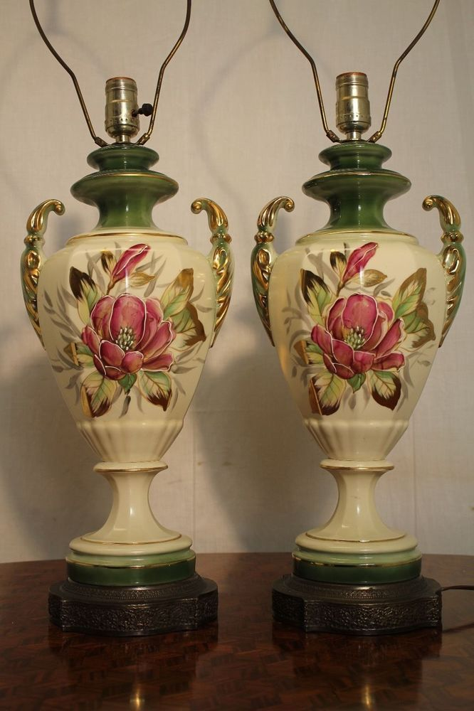 Mid Century French Hand Painted Gold Inlaid Porcelain Urn