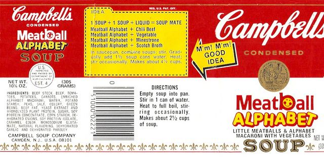 Vintage Campbell\u0027s Meatball Alphabet Soup Can Label MINIATURE