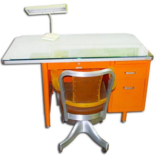 vintage steel furniture. steelcase single pedestal tanker desk vintage steel metal furniture